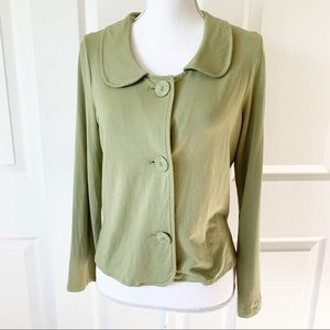 J. Jill Stretch Olive Button Down Collared Sweater